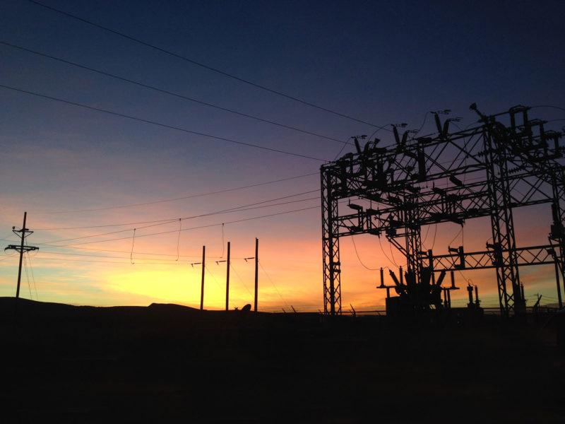 substation at sunset