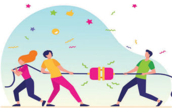 people playing tug of war with an electric plus illustration