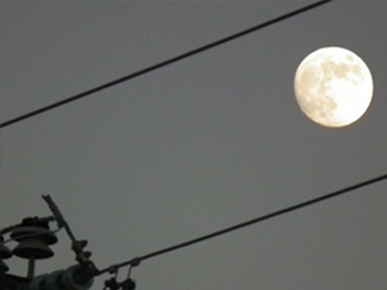 moon over power lines